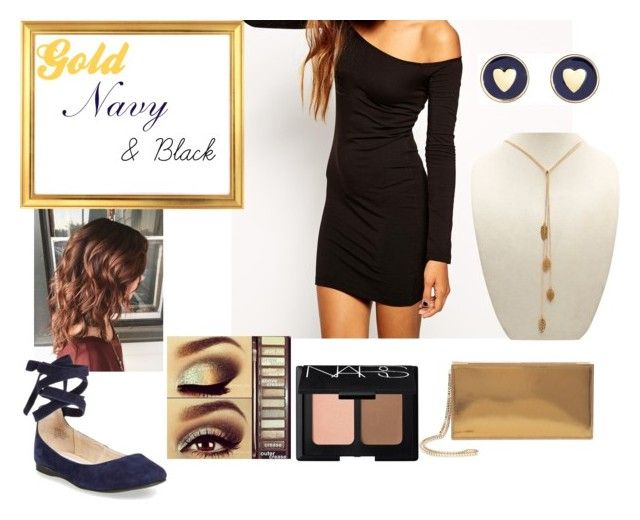 """""""Gold, Navy & Black"""" by kixkeen on Polyvore featuring ASOS, Brooks Brothers, Jimmy Choo, NARS Cosmetics, Urban Decay and Steve Madden"""