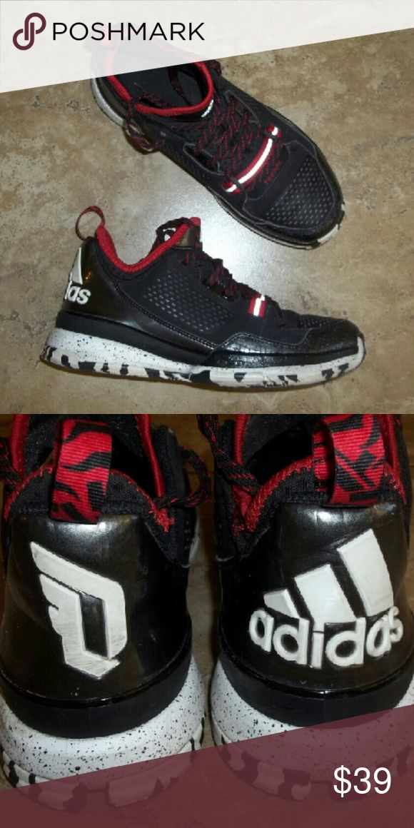Damian Lillard Adidas Basketball shoes Damian Lillard Adidas tech fit basketball shoes in red and black with speckled sole in like new condition teen boys not toddler Adidas  Shoes Sneakers