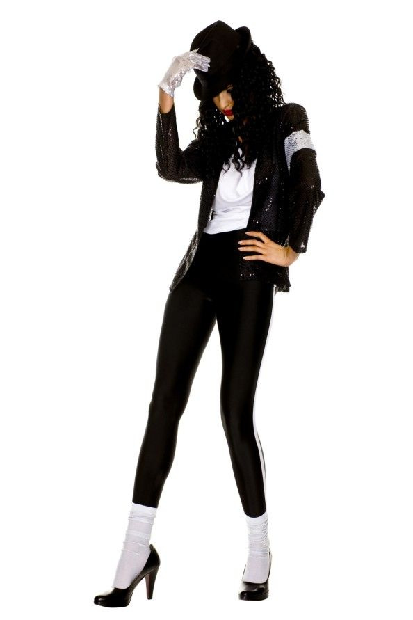 Ladies Michael Jackson Billie Jean Costume - Calgary, Alberta. This is great for an 80s Hollywood costume party, an Michael Jackson parody costume, or performing your own version of Billie Jean.  This is a funky feminine Michael Jackson costume. Dress like the King of Pop for Halloween.  This is a six piece Michael Jackson costume with a shirt, jacket, pants, hat, glove and socks. The shirt is a loose, sleeveless top with a low scoop neckline.