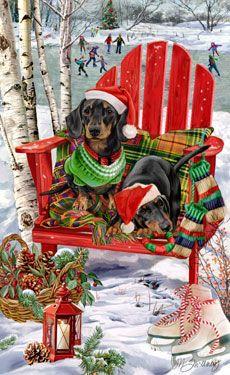 --Dachshund (black& tan) Christmas Holiday Christmas cards