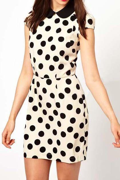 OL dot printing short sleeve dressMinis Dresses, Dots Dresses, Polka Dots, Collars Polka, Peter Pan Collars, Shorts Sleeve, Colors Splice, Dots Prints, Skater Dresses