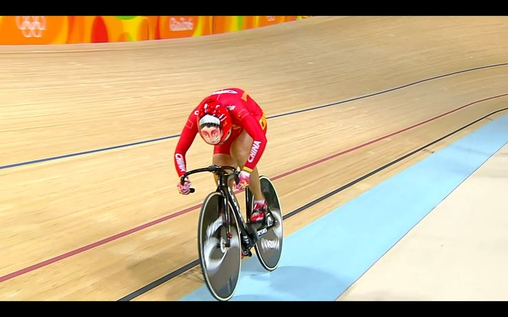track cycling || chinese helmet at olympics 2016 velodrome