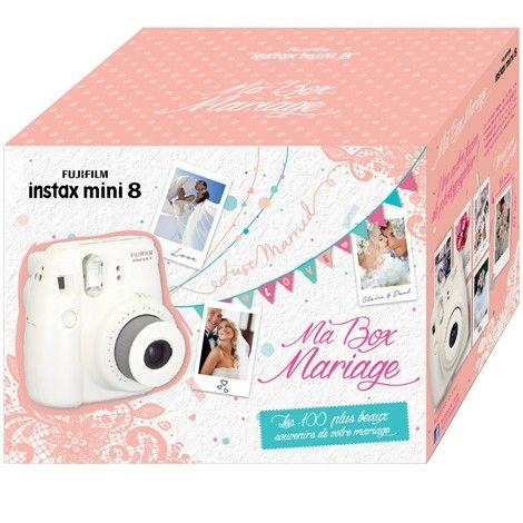 Box Mariage Instax Mini 8 L'appareil type polaroid avec 100 photos, c'est plus cher qu'un appareil polaroid original en seconde main mais probablement plus durable