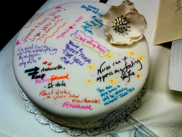 Cake Decorating Gift Experience : farewell cake. Edible marker on fondant. (http ...