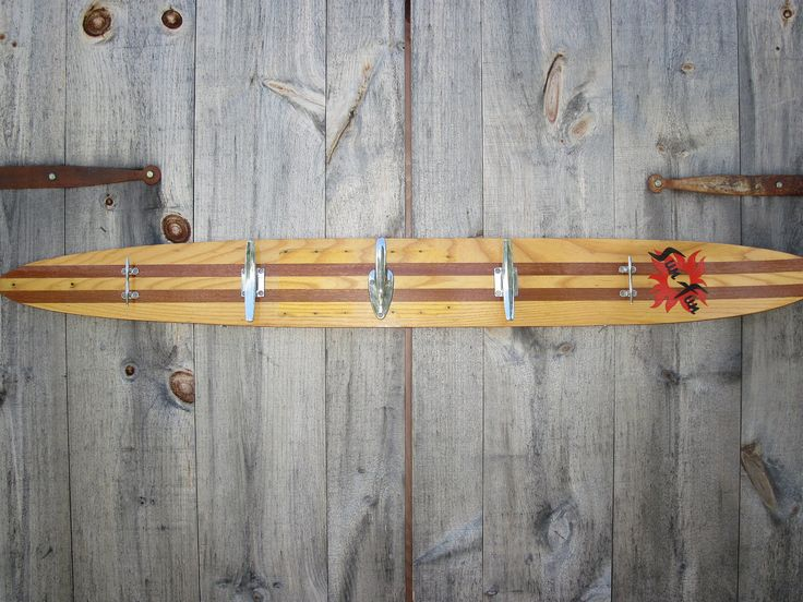 Repurposed Water Ski Towel Rack for Beach or Boat House - Salvaged Boat Cleat Hooks