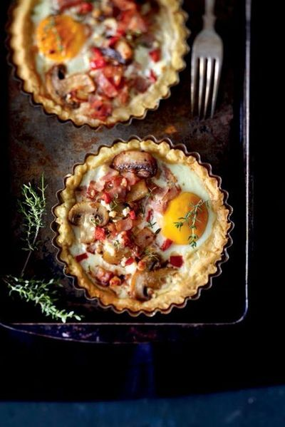 Savory tart with eggs, mushrooms and bacon.