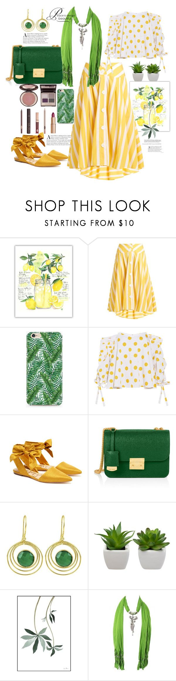 """Untitled #1094"" by csfshawn ❤ liked on Polyvore featuring Thierry Colson, Caso, Caroline Constas, Sam Edelman, Henri Bendel, Carousel Jewels, Charlotte Tilbury and WALL"
