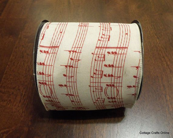 """Have a musical Christmas! Wired Ribbon in a Linen Style with Musical Notes printed in Red on a Cream Background, 4"""" wide from Cottage Crafts Online."""