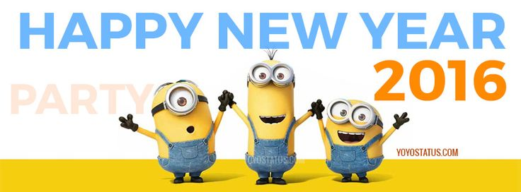 Minions wishing Happy New Year 2016 Facebook cover photo