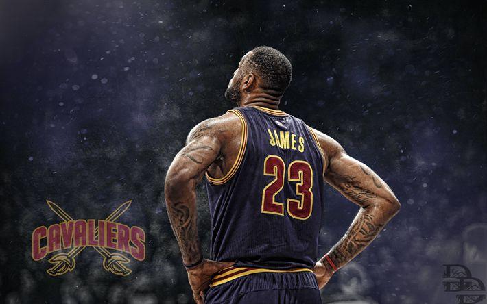 Download wallpapers LeBron James, 4k, fan art, NBA, basketball stars, Cleveland Cavaliers, basketball