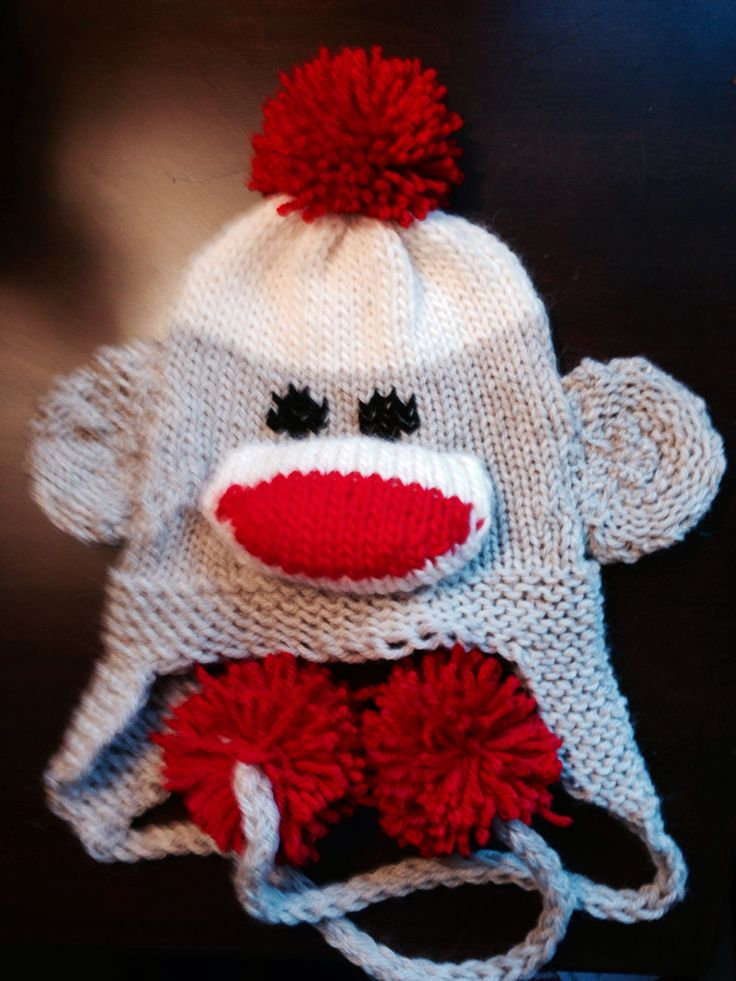 Loom knit sock monkey hat by KalicoKat pattern by Kathy Norris Loom Knittin...