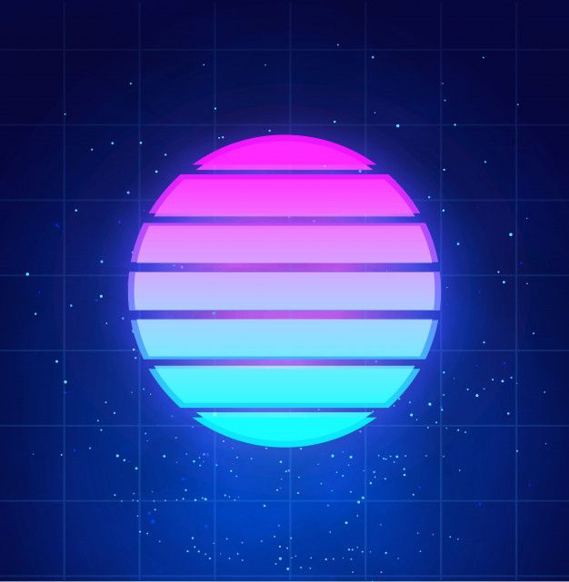 Retro Futuristic Sunset Background Abstract Neon Sun In Cyberpunk Style On Night Sky With Stars And Clouds Vaporwave Synthwave Music Illustration Neon Backgrounds 80s Background Futuristic Background
