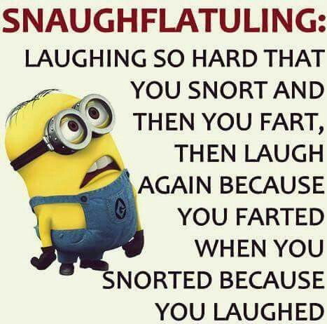 Laughing so hard that u snort and then u fart, then laugh again because u farted when u snorted because u laughed.