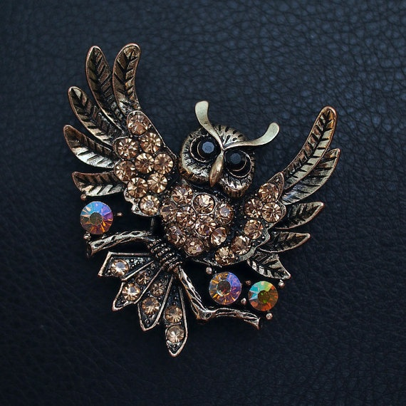 Decorated Owl Charm by BlackPearlRain on Etsy, $19.95