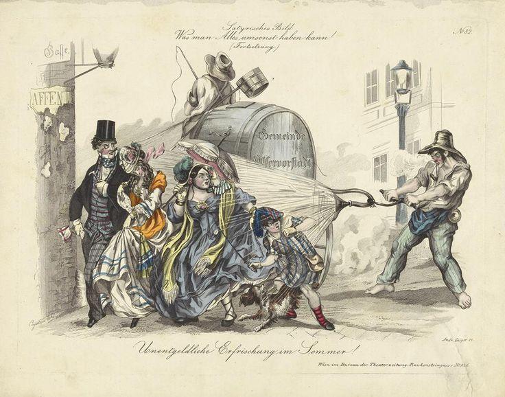 Andreas Geiger nach Anton Elfinger (Cajetan), Unentgeldliche Erfrischung im Sommer, 1855, Kupferstich koloriert © Wien Museum