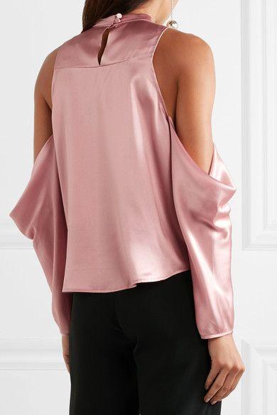 Michelle Mason - Cold-shoulder Silk-charmeuse Top - Antique rose