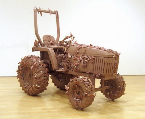 Margarita Cabrera, John Deere Tractor Model #790 (#1), 2007, clay, slip paint, latex acrylic and metal hardware, 100 x 60 x 96 inches - Culture Shock: Art at the Border, Sweeney Todd and This distance makes us feel closer.