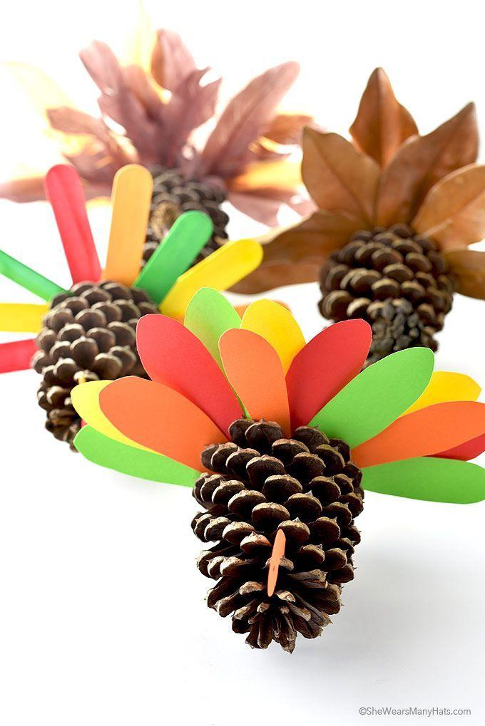 Thanksgiving pine cone turkey craft crafts