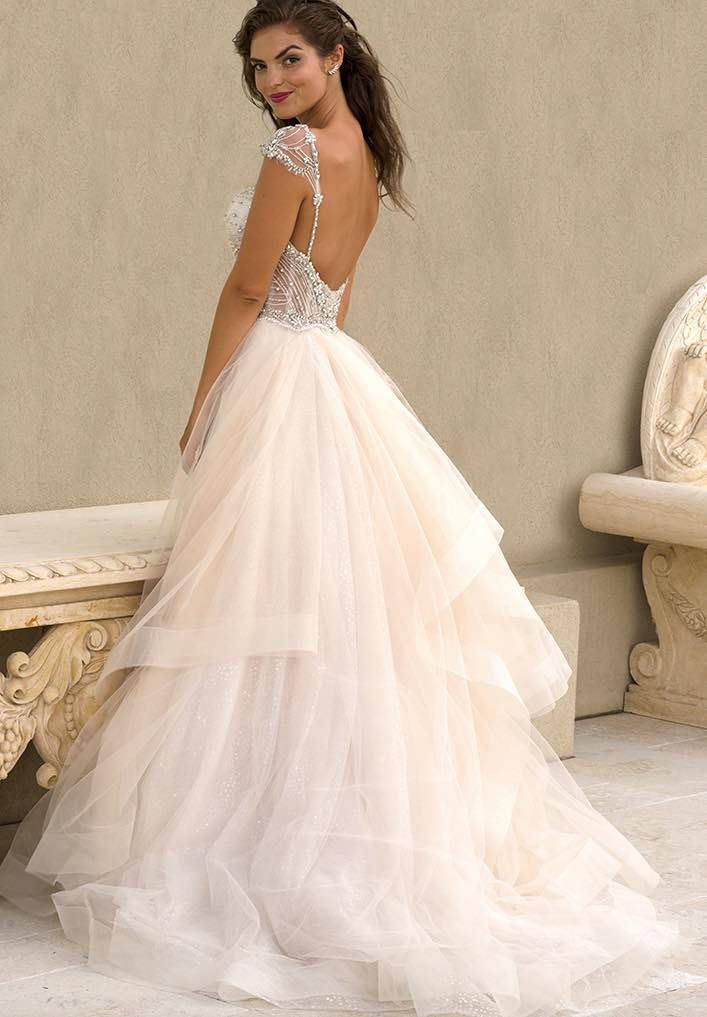 Stunning bareback Eve of Milady wedding dress; click to see more gorgeous gowns from this collection.