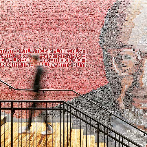 Mural made of text blocks   Warner Music Group   Gensler