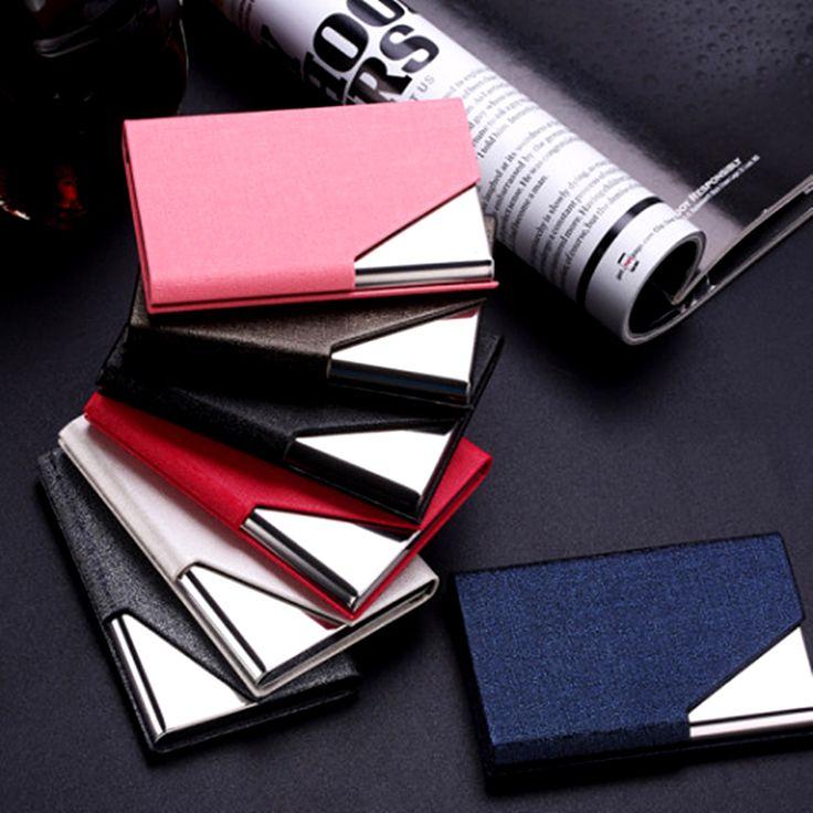 Qoong rfidトラベルカード財布革男性女性防水クレジットidカードホルダーカードケースメタル財布カード会員carteira