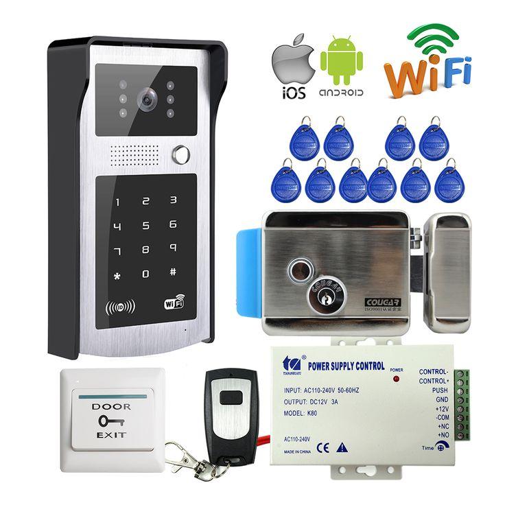 Envío Libre Wifi de Vídeo Teléfono de Puerta de Intercomunicación Timbre de Metal Al Aire Libre con Código RFID Puerta de Acceso Del Teclado + Remote + Electrónica bloqueo
