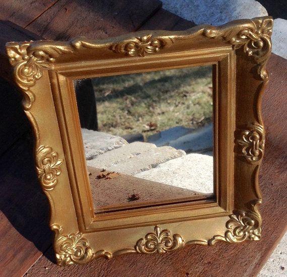Vintage Small Syroco Gold Framed Mirror Hollywood Regency