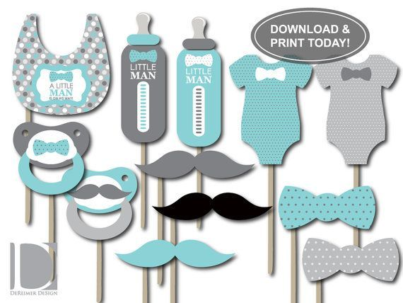Charming Little Man Photo Booth Props, Aqua, Teal, Baby Blue, Gray, Baby Shower  Props, Photo Booth Accessories, DIY Printing, Table Centerpieces