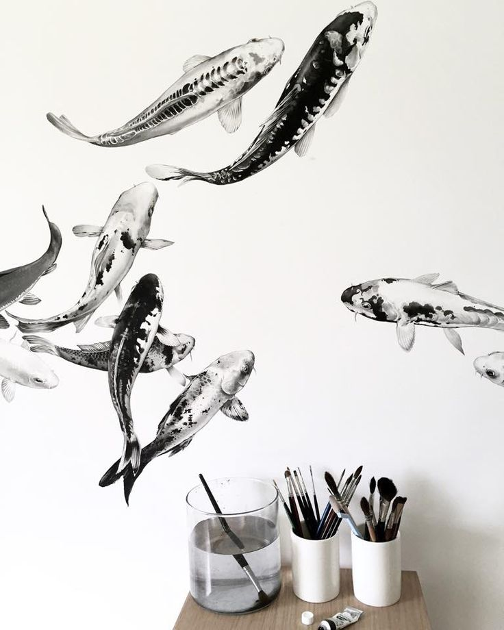 Niharika Hukku creates large scale watercolor fish paintings. She usually works on painted ceramic vessels inspired by animals, nature and the elements