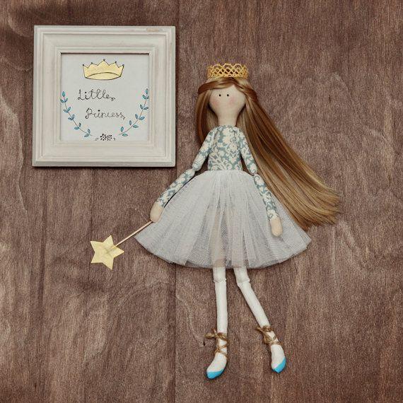 Handmade doll in white tutu skirt little girl by HappyLabToys