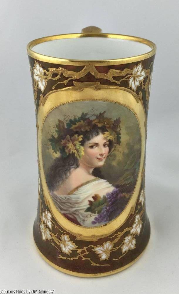 Antique KPM Art Nouveau Porcelain Bacchus Wine Tankard Cup Pitcher #Vienna #KPM