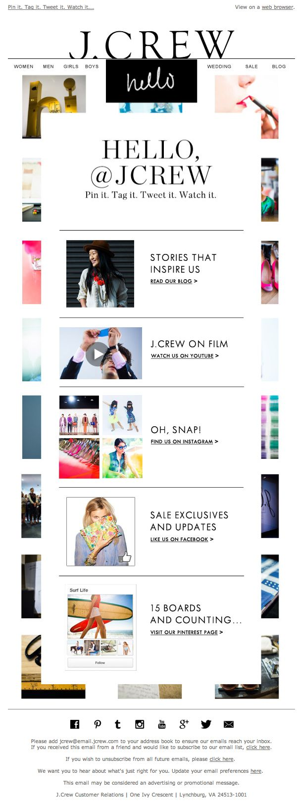 J. Crew welcome email Dec 2013 (Email #4)
