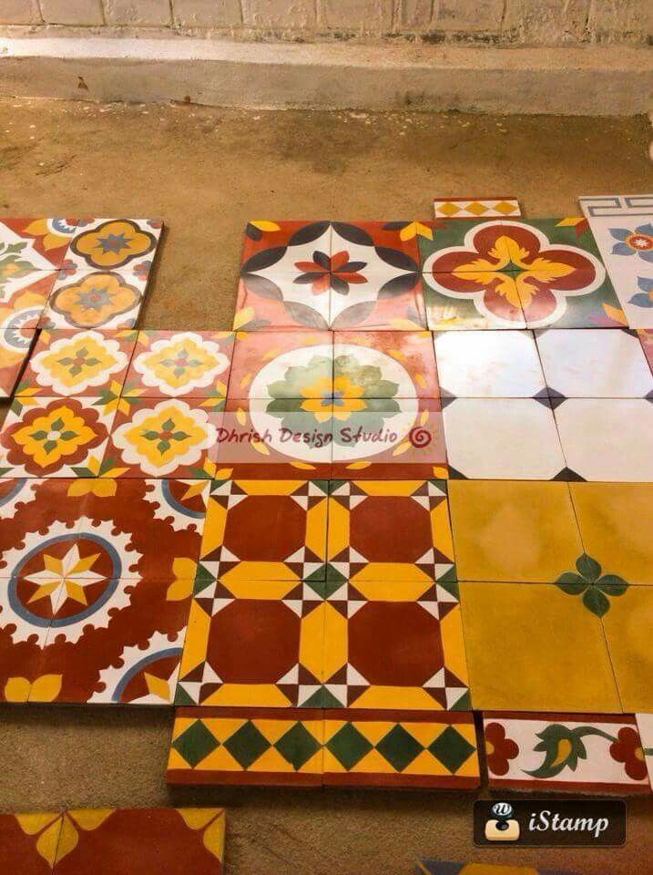 Handmade tiles from athangudi tile factory, karaikudi