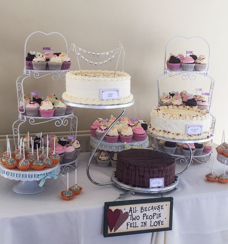 Wedding dessert table with a selection of cakes, cupcakes and cake pops www.kellylou.com
