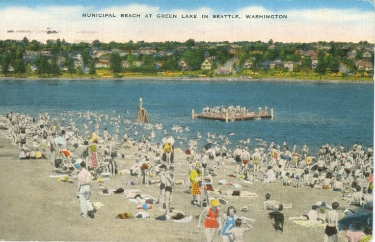 Vintage Beach Photo, Municipal Beach at Green Lake in Seattle