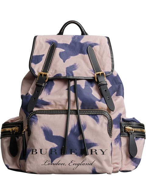 32b14cd0d Burberry The Large Rucksack in Bird Print and Leather | unusual backpacks |  Large rucksack, Mens designer backpacks, Designer backpacks