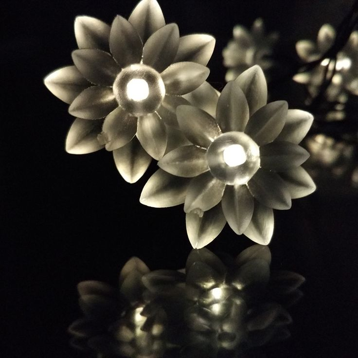 Solar Lotus Flower LED Solar Floral Fariy Strings Lights Outdoor Party Christmas/New Year/Birthday/Marry Decoration Lamp 20LED #Affiliate