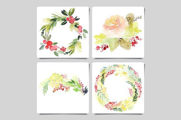 Christmas watercolor greeting cards by CosheArtStore on @creativemarket