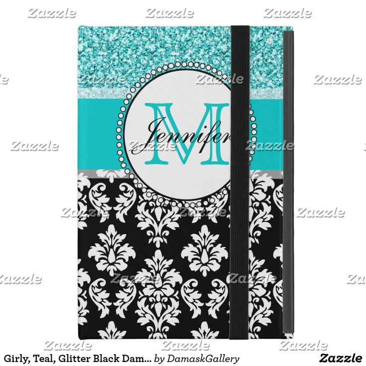 Girly, Teal, Glitter Black Damask Personalized