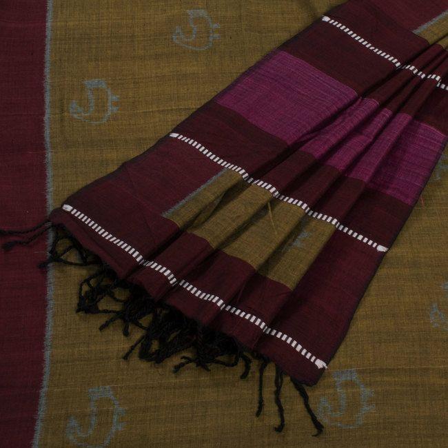 Kala Aur Katha Metallic Bronze Handwoven Bataka Ikat Cotton Saree with Striped Pallu 10002571 - AVISHYA