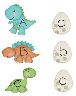 Free dinosaur alphabet matching download. These are about the cutest little Dino's I've ever seen! I want stuffed animals of them!