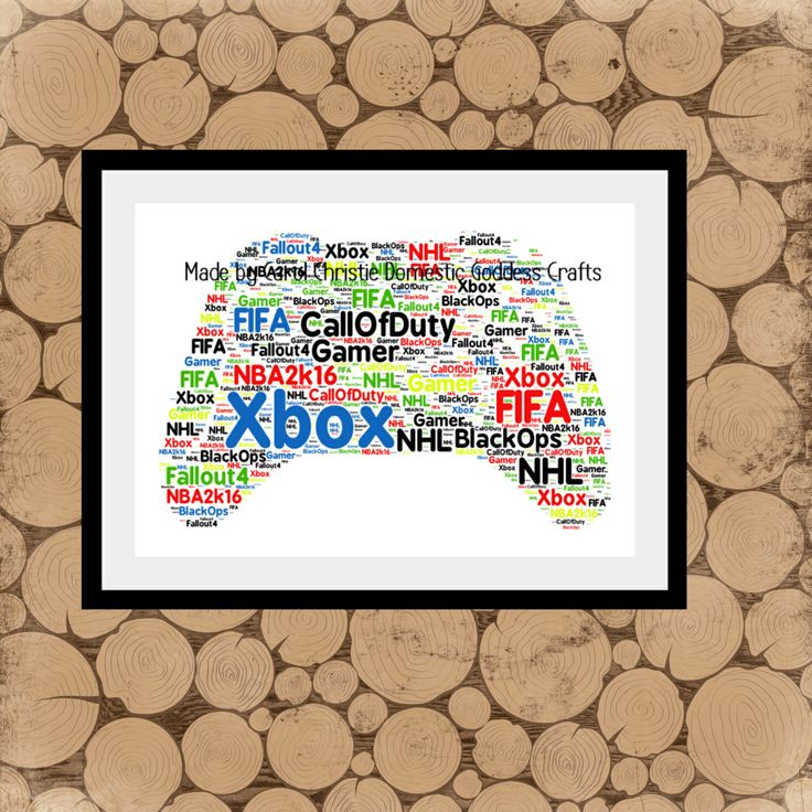 Games Controller Print, Personalised Gamer Print, Games Controller Word Art, Games Controller Word Collage, Xbox Themed Gift, Gift for Gamer by DomesticGoddessCraft on Etsy https://www.etsy.com/uk/listing/477057542/games-controller-print-personalised