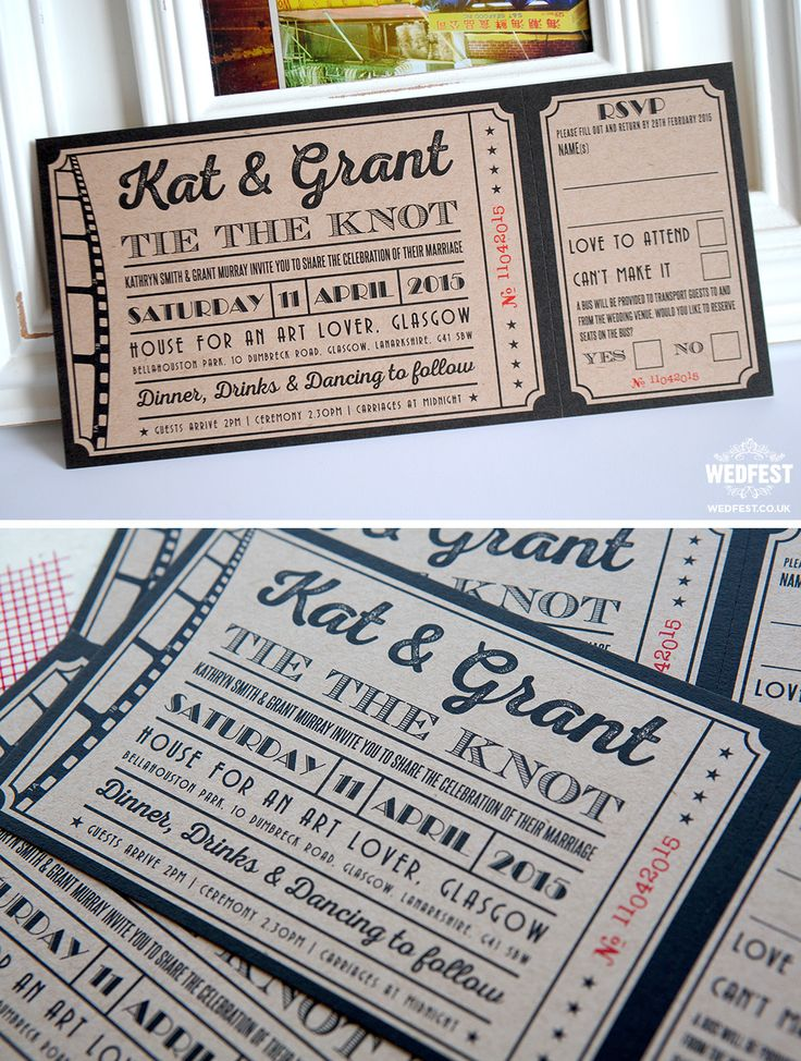 movie ticket stub wedding invitation%0A brown kraft card cinema wedding invites