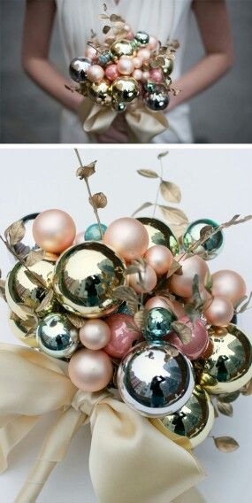 How about this as an alternative wedding bouquet for a Christmas wedding? Baubles! Inexpensive and super-easy to match with your colour scheme.