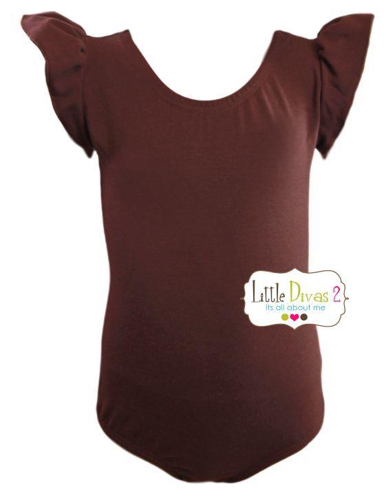 BROWN LEOTARD (Child) Flutter/Ruffle Sleeve
