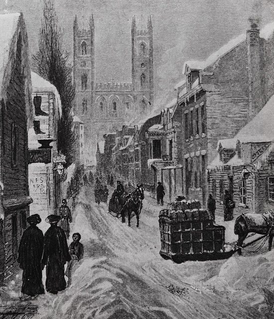 Montréal 1882. Rue St-Urbain >Sud et l'église Notre Dame, depuis rue de La Gauchetière (env.)    Archives de Montréal / J.Horatio Walker (1858-1938)