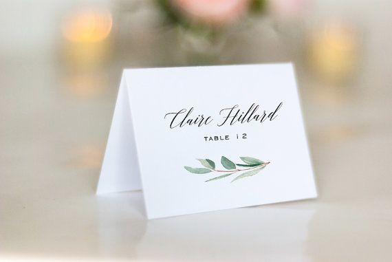 Watercolor Greenery Place Cards, Calligraphy, Eucalyptus Wedding Escort Cards, Name Cards, Minimal, Modern, Clean