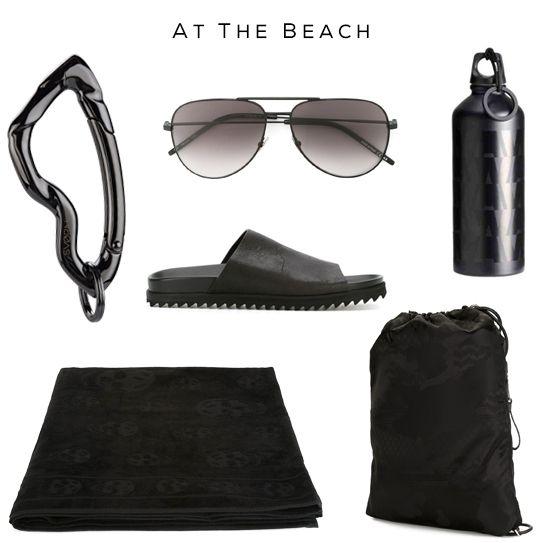 At the Beach   Men's Fashion Set   Clockwise: Carabiner Keychain by SVØRN, Sandals by A.F. Vandevorst, Sunglasses by Saint Laurent, Water Bottle by Alexander Wang x H&M, Bag by Neil Barrett, Beach Towel by Alexander McQueen  #allblack #beach #mensfashion #mensluxury #luxury