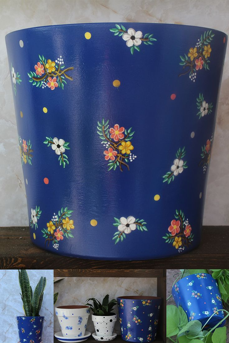Eden Plant Pot Painted Classic Blue Floral Planter Of The Mother Nature Collection In 2020 Blue Plants Painted Flower Pots Small Flower Pots