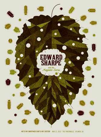 EDWARD SHARPE AND THE MAGNETIC ZEROS-LEAF « Limited Edition Gig Posters « Methane Studios
